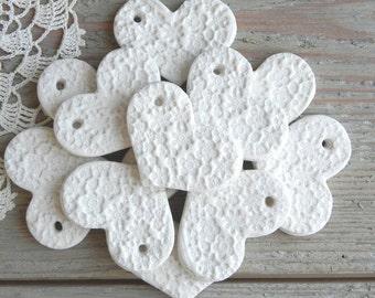 DIY Wholesale Mini Salt Dough Valentine Hearts Set of 10 Unfinished Imprinted Heart Supplies with Hole Wedding / Baptism
