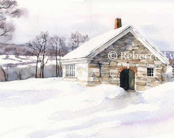 Illustration Art print Old Stone Building in winter 8.5x11