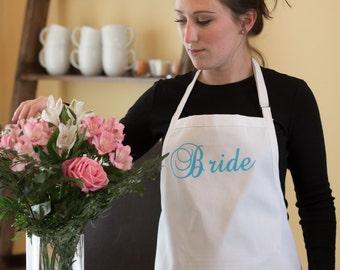 Bride apron. Bridal Shower gift idea. Personalized apron with pockets.  Newlywed gift idea, New Mrs. gift. Custom apron, Something blue gift