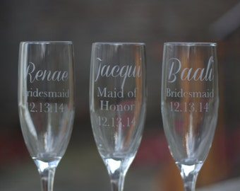 Bridesmaid wedding gift. Set of 3 Etched flutes personalized mimosa champagne glass. Custom Engraved Glasses, Etched Bridal Party Glasses