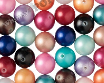 20mm - MATTE Pearl MIXED Color Gumball Beads, Chunky Pearl Beads, 20mm Pearl Beads, Matte Gumball Beads, Bubblegum Beads, 2mm Hole