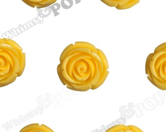 Large Yellow Rose Beads, Flower beads, 21mm Flower Beads, Drilled Flowers (R7-073)