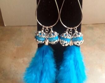 Beautiful Blue Feather Teardrop Hoop Earrings