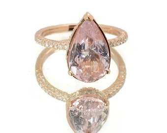 Certified Untreated Pear shape peach champagne sapphire, Rose gold, diamonds engagement ring JOANNA-2095