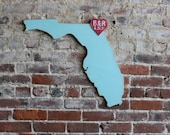 Wooden State Wedding Guestbook - 2 ft Florida in Distressed Ocean - any state/country available in many colors