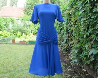 Beautifull  Dress / Dress Vintage / Blue Dress / Ultramarine / Side Zipper / Size EUR 38 / UK10