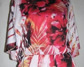 Red/Pink/White/Honey Yellow/Black Stretch Cotton Blouse