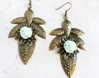 Mint Green Flower Earrings, Southwestern Cactus Flower Earrings