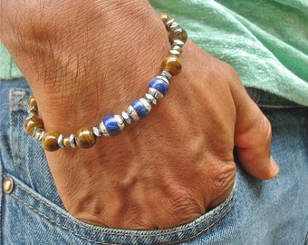 Men's Spiritual Protection, Fortune, Energy, Friendship Bracelet with Semi Precious Hematites, Tiger's Eye, Tibetan Lapis and Silver Beads