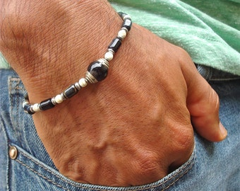 Men's Minimalist Healing and Protection Bracelet with Semi Precious Tiger's Eye, Hematites, Howlite, Antique Tibetan Guru Silver Capped Bead