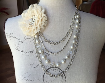 Multi strand flower Pearl and crystal statement necklace, wedding jewelry, chunky Pearl necklace