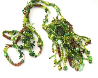 Green beaded necklace jewelry, Long necklace, Seed bead necklace, Handmade gift, Freeform necklace