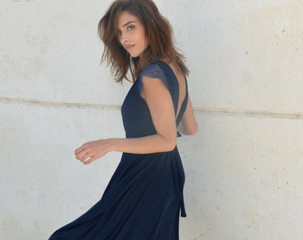 Blue knee length bridesmaid dress, lace on cleavage and sleeves ,full circle skirt