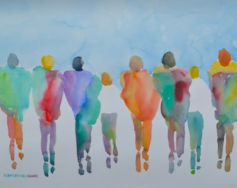 "Passion People (6272015.1), Original Watercolor, Figures, Large 22"" x 30"", Free Ship US, Will ship out of US, contact first for cost"