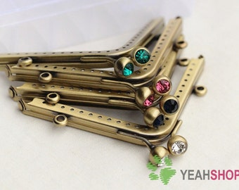 Antique Brass Triangle Purse Frame with Loops - 11cm / 4.3 Inch (PF-28) - Select one Color