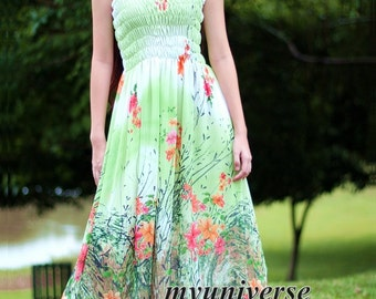 Green Maxi Dress Chiffon Summer Sundress Women Long Dress Plus Size Cute Floral Dress Fancy