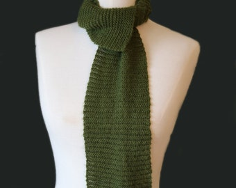Skinny Mohair Mossy Bottom Scarf in Green