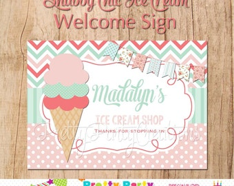 SHABBY CHIC ICE-Cream Party welcome sign - You Print - digital file only