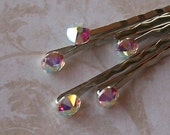 Crystal Rhinestone Bobby Pins - AB Aurora Borealis Swarovski Hair Pins - Set of 5 - Wedding Hair Pins- Bridal - Prom - Dance