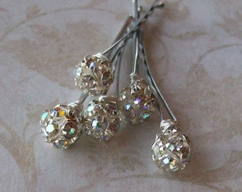Silver Rhinestone Hair Pins - Crystal AB Rhinestone Ball Bobby Pins - Wire Wrapped - Set of 5