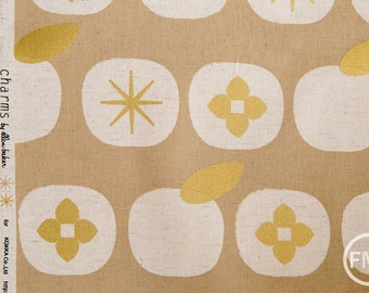Charms Persimmons CANVAS in Gold Metallic, Ellen Baker for Kokka Fabrics, Cotton and Linen Canvas Fabric, JG-42200-200C