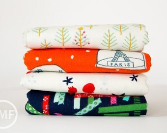Tinsel FLANNEL Fat Quarter Bundle, 4 Pieces, Full Collection, Cotton+Steel, RJR Fabrics, 100% Cotton Fabric