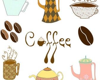 Cute Coffee Clip Arts, Cute Coffee Digital Images, Coffee, Coffee Pot, Coffee Mugs, Sweet Coffee Digital Clip Art