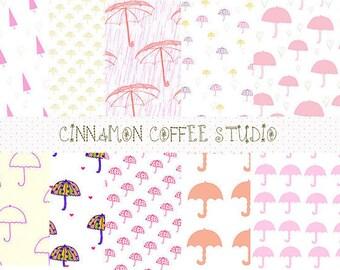 cute umbrella digital papers, umbrellas texture, pink cute umbrella backgrounds, pink umbrellas papers, commercial use, set of 10