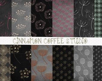 Dandelion Digital Paper, Dandelion on Chalkboard Digital Papers - set of 12, Cute Dandelion Backgrounds, Chalk Dandelion Paper Pack