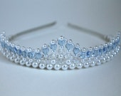 Pretty Light Blue Hearts Tiara (Something Borrowed Something Blue) Birthday Tiara, Prom Tiara, Bridal Tiara