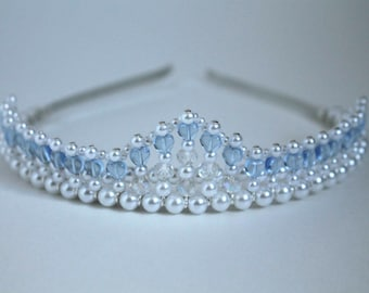 Pretty Light Blue Hearts Tiara (Something Borrowed Something Blue) Birthday Tiara, Prom Tiara, Bridal Tiara