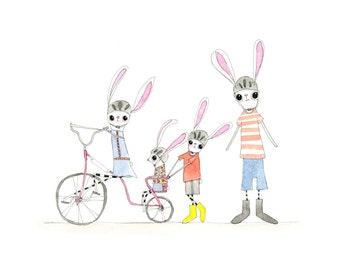Childrens Decor, Nursery Decor, Kids Art,  Rabbit Print - Limited Edition 8x10 Print by Jennie Deane