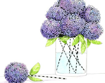Illustration,  Lilac Lollipops - Hydrangea Print - Limited Edition Print by Jennie Deane