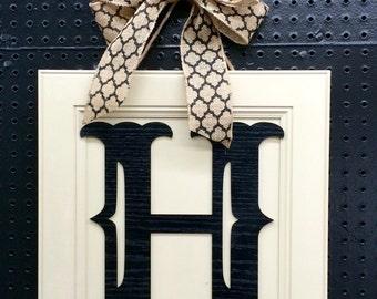 Monogram Wood Door Hanger Burlap Bow - Pick Letter Pick Bow