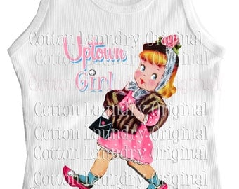 Uptown Girl tank tee shirt one piece body suit tshirt kids romper Vintage inspired childrens tshirt