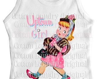 Uptown Girl tank tee shirt one piece body suit tshirt kids romper Vintage inspired childrens tshirt