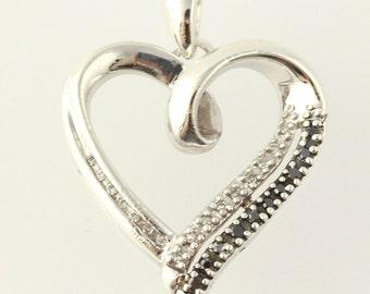 Black & White Diamond Heart Pendant - Sterling Silver 925 Women's Estate 0.10ctw h4612