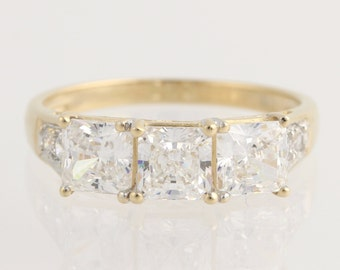 Engagement Ring Cubic Zirconia - 14k Yellow Gold Three-Stone with Accents CZ Unique Engagement Ring L1613