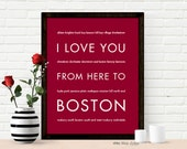 Boston Art Decor, I Love You From Here To BOSTON, Typography, Shown in Dark Red - Choose Color Canvas Frame