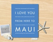 Gift for Couple, Beach Wedding, Maui Hawaii Travel Art, I Love You From Here To MAUI, Shown in Cornflower Blue - Choose Color Canvas Frame
