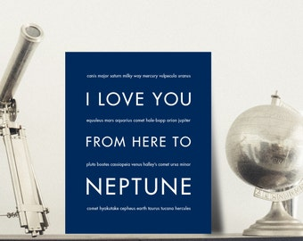 Neptune Space Geek Poster, I Love You From Here To NEPTUNE, Shown in Navy Blue