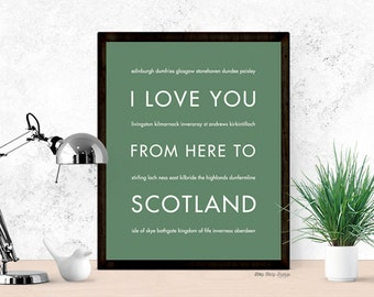 Scotland Travel Art, I Love You From Here To SCOTLAND, Shown in Sage