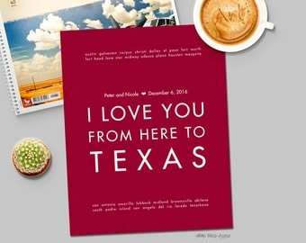 Personalized Texas Wedding Decor Art Poster with Names and Wedding Date - Anniversary Engagement Gift