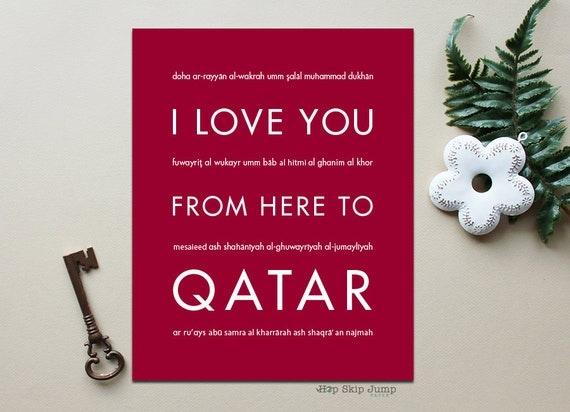 Qatar Cake Art : QATAR Art Print I Love You From Here To QATAR Shown in Dark