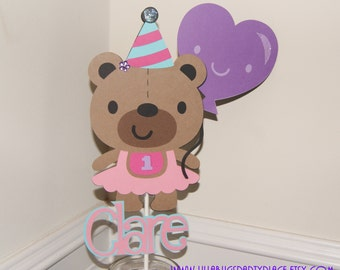 1st Birthday, Bear Personalized Name Topper
