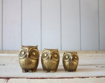 Vintage Brass Owls // Paperweight Trio