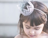 READY to SHIP|| the Paxton|| unisex prince princess vintage silver lace crown || headband option || photography prop ||newborn-toddler