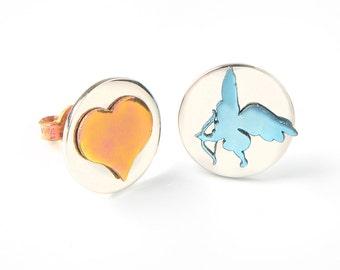 Angel earrings, romantic, love earrings, love jewelry, rose gold, blue, round studs, titanium earrings, cupid earrings, miniature, heart