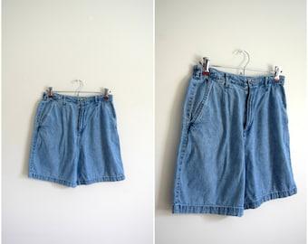 Vintage retro high waisted denim shorts / medium wash jean shorts