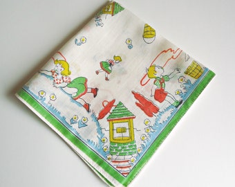 Child's Hankie Hankerchief Hanky Jack and Jill Nursery Rhyme 1960's Green